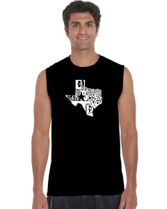 LA Pop Art Men's Word Art Sleeveless T-shirt - Everything is Bigger in Texas