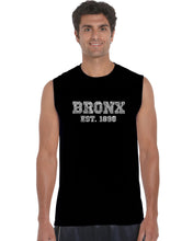 Load image into Gallery viewer, LA Pop Art Men's Word Art Sleeveless T-shirt - POPULAR NEIGHBORHOODS IN BRONX, NY