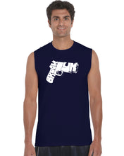 Load image into Gallery viewer, LA Pop Art Men's Word Art Sleeveless T-shirt - BROOKLYN GUN