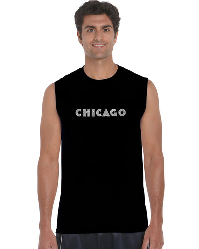 LA Pop Art Men's Word Art Sleeveless T-shirt - CHICAGO NEIGHBORHOODS