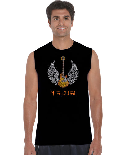 LA Pop Art Men's Word Art Sleeveless T-shirt - LYRICS TO FREE BIRD