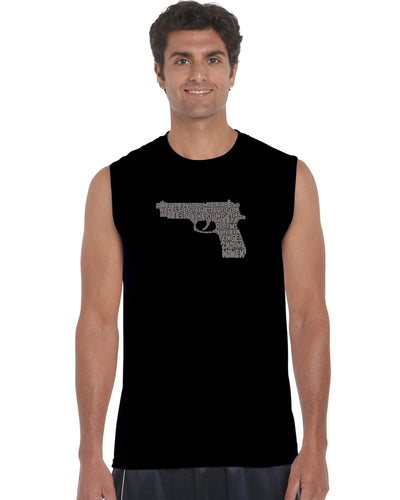 LA Pop Art Men's Word Art Sleeveless T-shirt - RIGHT TO BEAR ARMS