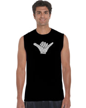 Load image into Gallery viewer, LA Pop Art Men's Word Art Sleeveless T-shirt - TOP WORLDWIDE SURFING SPOTS