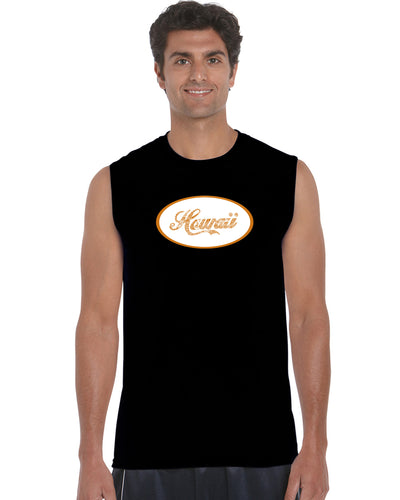 LA Pop Art Men's Word Art Sleeveless T-shirt - HAWAIIAN ISLAND NAMES & IMAGERY