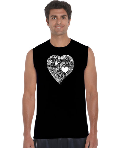 LA Pop Art Men's Word Art Sleeveless T-shirt - LOVE IN 44 DIFFERENT LANGUAGES
