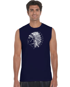 LA Pop Art Men's Word Art Sleeveless T-shirt - POPULAR NATIVE AMERICAN INDIAN TRIBES