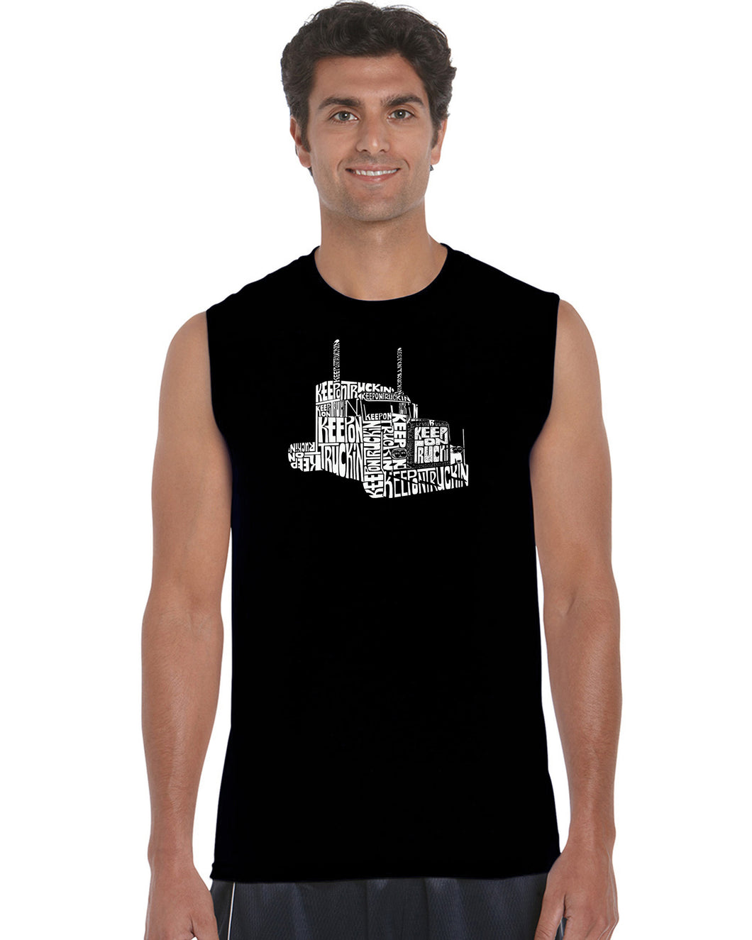 LA Pop Art Men's Word Art Sleeveless T-shirt - KEEP ON TRUCKIN'