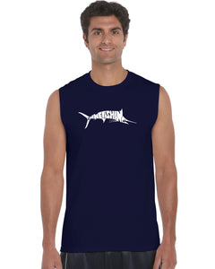 LA Pop Art Men's Word Art Sleeveless T-shirt - Marlin - Gone Fishing