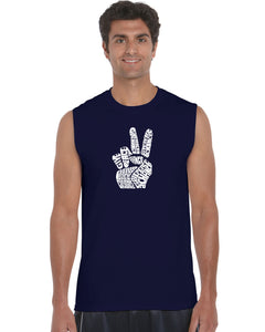 LA Pop Art Men's Word Art Sleeveless T-shirt - PEACE FINGERS