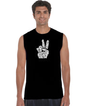 Load image into Gallery viewer, LA Pop Art Men's Word Art Sleeveless T-shirt - PEACE FINGERS