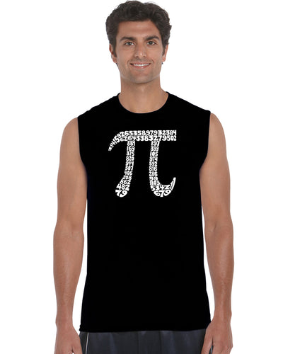 LA Pop Art Men's Word Art Sleeveless T-shirt - THE FIRST 100 DIGITS OF PI