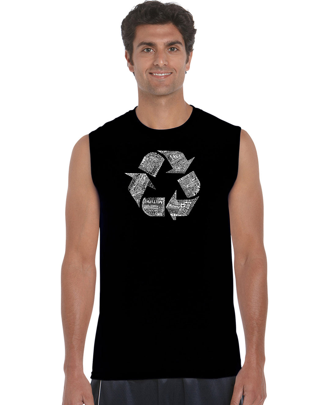 LA Pop Art Men's Word Art Sleeveless T-shirt - 86 RECYCLABLE PRODUCTS