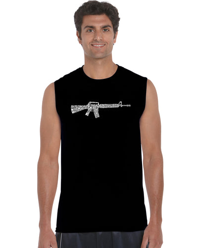 LA Pop Art Men's Word Art Sleeveless T-shirt - RIFLEMANS CREED