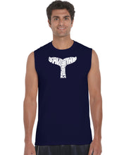 Load image into Gallery viewer, LA Pop Art Men's Word Art Sleeveless T-shirt - SAVE THE WHALES