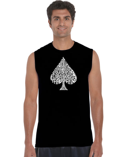 LA Pop Art Men's Word Art Sleeveless T-shirt - ORDER OF WINNING POKER HANDS