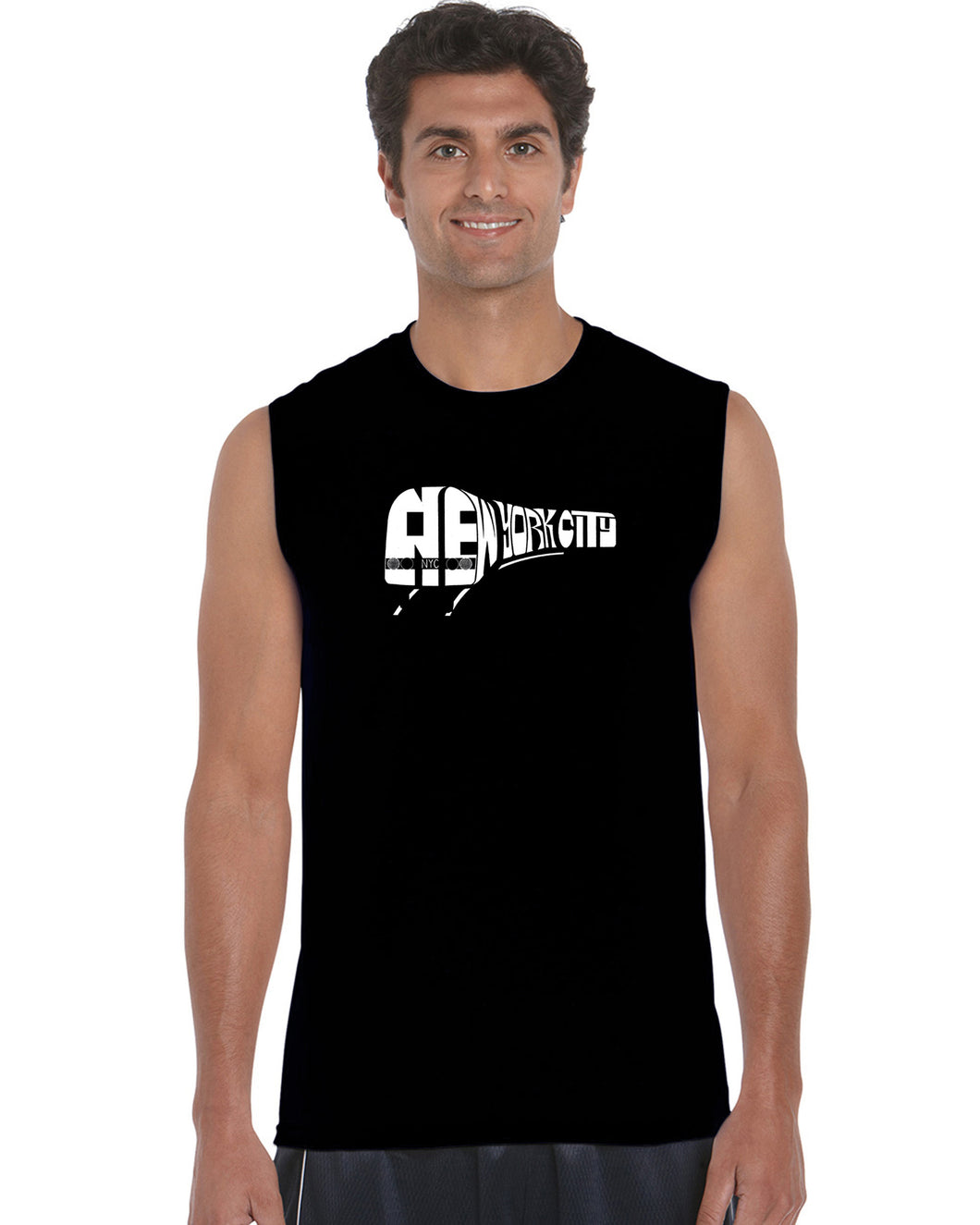 LA Pop Art Men's Word Art Sleeveless T-shirt - NY SUBWAY