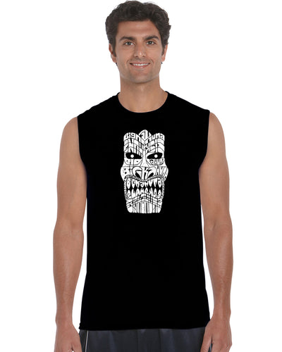LA Pop Art Men's Word Art Sleeveless T-shirt - TIKI - BIG KAHUNA