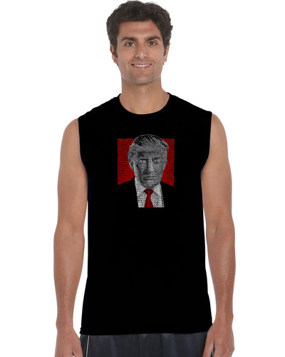 LA Pop Art Men's Word Art Sleeveless T-shirt - TRUMP 2016 - Make America Great Again