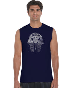 LA Pop Art Men's Word Art Sleeveless T-shirt - KING TUT