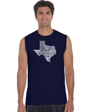 Load image into Gallery viewer, LA Pop Art Men's Word Art Sleeveless T-shirt - The Great State of Texas