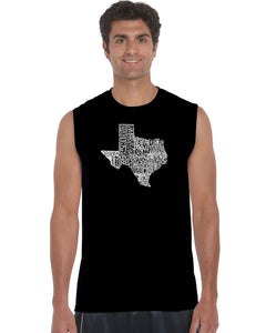 LA Pop Art Men's Word Art Sleeveless T-shirt - The Great State of Texas