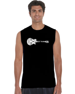 LA Pop Art Men's Word Art Sleeveless T-shirt - Whole Lotta Love