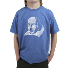 Load image into Gallery viewer, LA Pop Art Boy's Word Art T-shirt - THE TITLES OF ALL OF WILLIAM SHAKESPEARE'S COMEDIES & TRAGEDIES