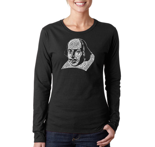LA Pop Art Women's Word Art Long Sleeve T-Shirt - THE TITLES OF ALL OF WILLIAM SHAKESPEARE'S COMEDIES & TRAGEDIES