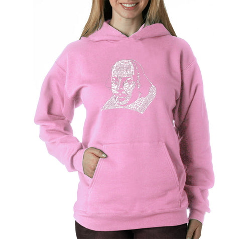 LA Pop Art Women's Word Art Hooded Sweatshirt -THE TITLES OF ALL OF WILLIAM SHAKESPEARE'S COMEDIES & TRAGEDIES