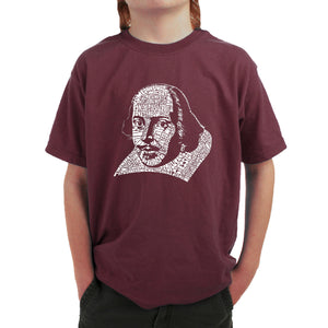 LA Pop Art Boy's Word Art T-shirt - THE TITLES OF ALL OF WILLIAM SHAKESPEARE'S COMEDIES & TRAGEDIES