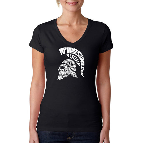 LA Pop Art Women's Word Art V-Neck T-Shirt - SPARTAN