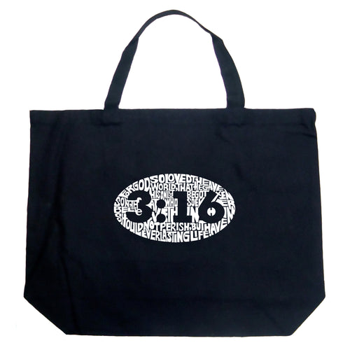 LA Pop Art Large Word Art Tote Bag - John 3:16