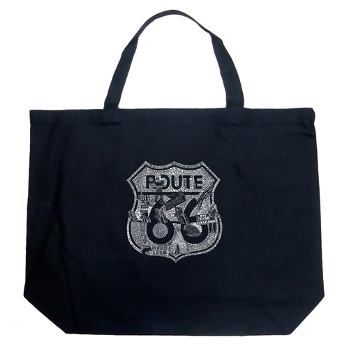 LA Pop Art Large Word Art Tote Bag - Stops Along Route 66