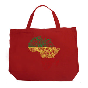 LA Pop Art Large Word Art Tote Bag - Countries in Africa