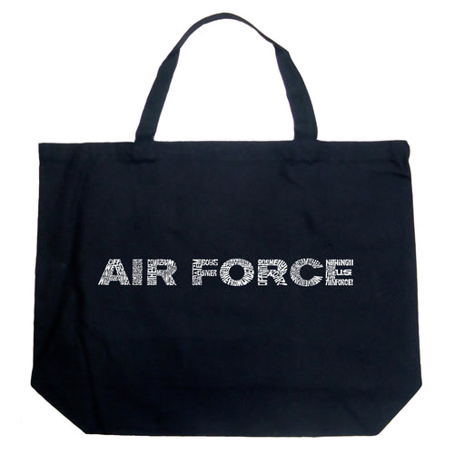 LA Pop Art Large Word Art Tote Bag - Lyrics To The Air Force Song