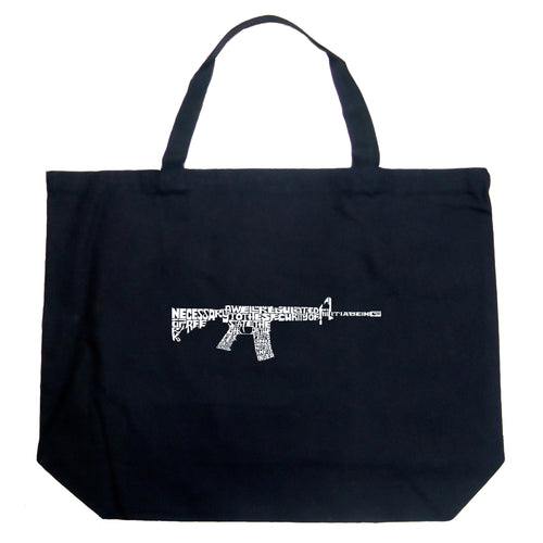 LA Pop Art Large Word Art Tote Bag - AR15 2nd Amendment Word Art