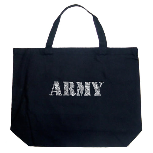 LA Pop Art Large Word Art Tote Bag - LYRICS TO THE ARMY SONG
