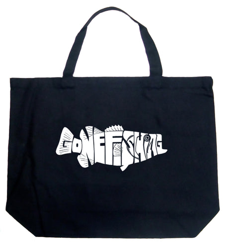 LA Pop Art Large Word Art Tote Bag - Bass - Gone Fishing