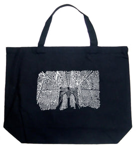 LA Pop Art Large Word Art Tote Bag - Brooklyn Bridge