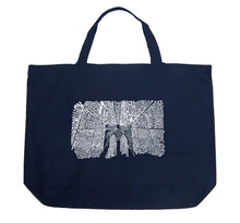Load image into Gallery viewer, LA Pop Art Large Word Art Tote Bag - Brooklyn Bridge