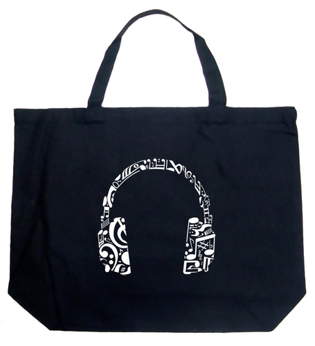 LA Pop Art Large Word Art Tote Bag - Music Note Headphones