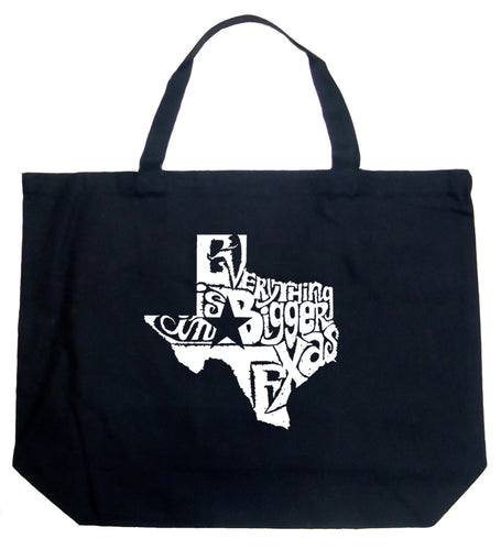 LA Pop Art Large Word Art Tote Bag - Everything is Bigger in Texas