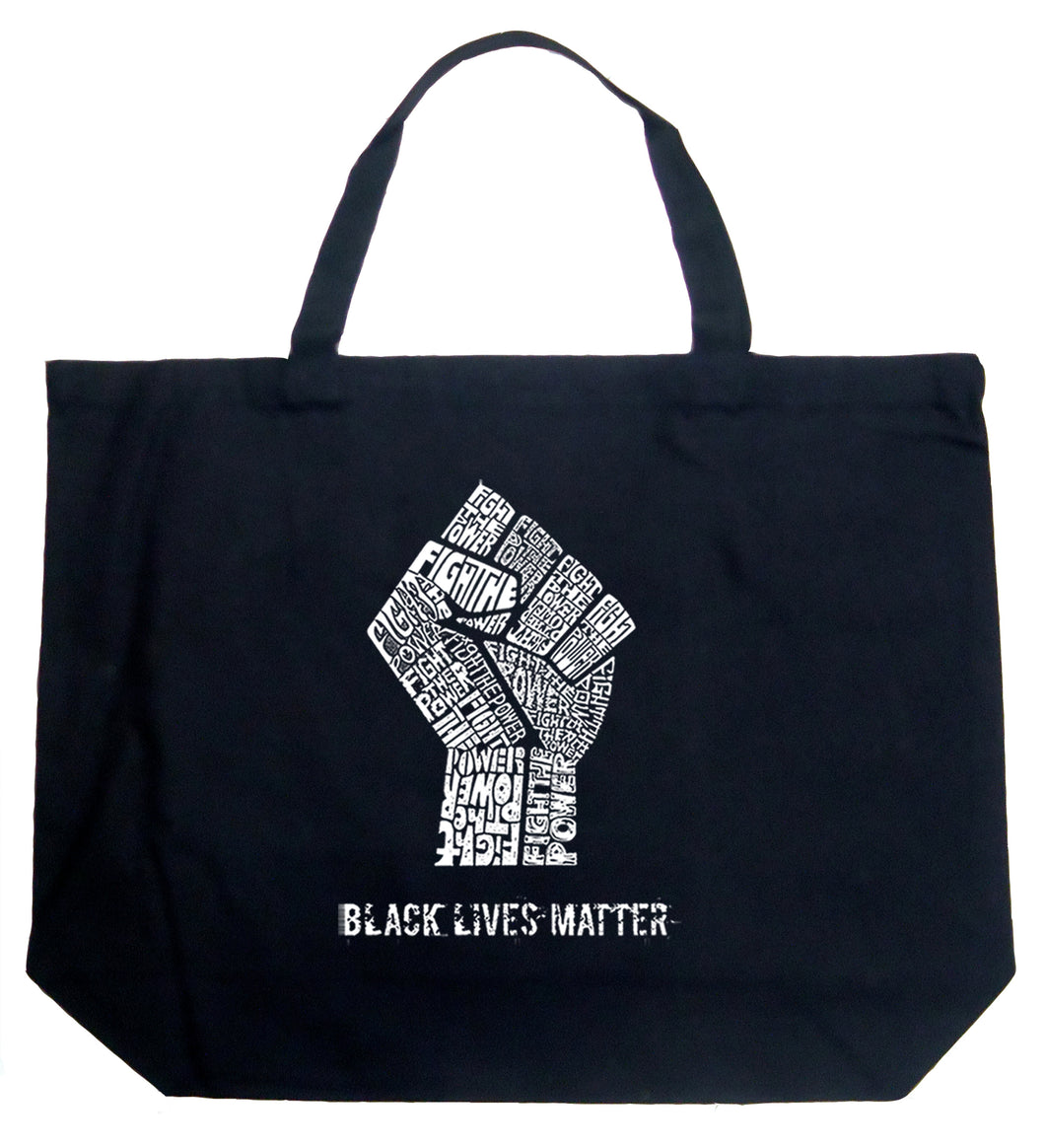 LA Pop Art Large Word Art Tote Bag - Black Lives Matter