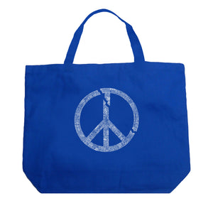 LA Pop Art Large Word Art Tote Bag - EVERY MAJOR WORLD CONFLICT SINCE 1770