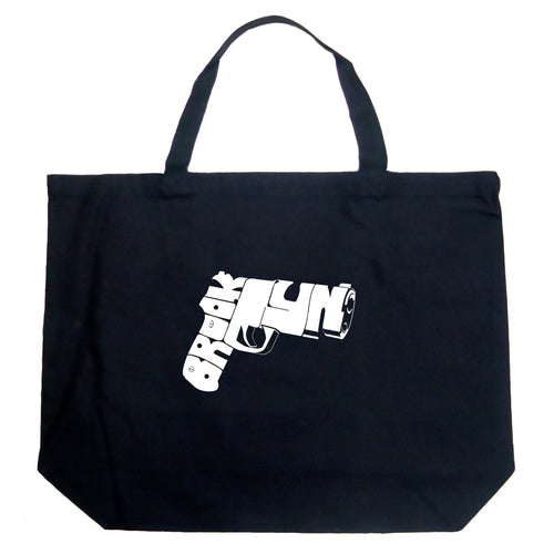 LA Pop Art Large Word Art Tote Bag - BROOKLYN GUN