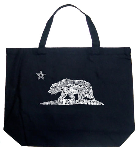 LA Pop Art Large Word Art Tote Bag - California Bear