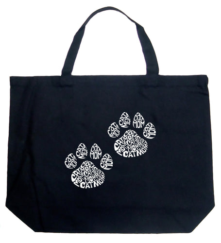 LA Pop Art Large Word Art Tote Bag - Cat Mom