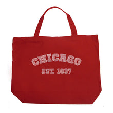 Load image into Gallery viewer, LA Pop Art Large Word Art Tote Bag - Chicago 1837