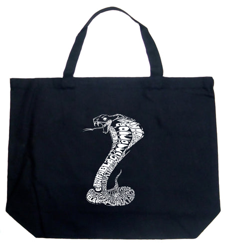LA Pop Art Large Word Art Tote Bag - Types of Snakes