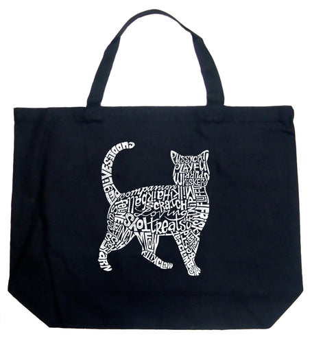 LA Pop Art Large Word Art Tote Bag - Cat